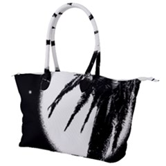 Black And White Tropical Moonscape Illustration Canvas Shoulder Bag