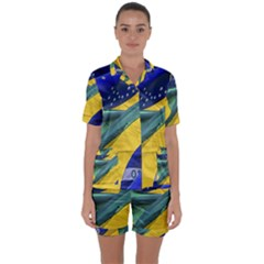 Brazil Flags Waving Background Satin Short Sleeve Pyjamas Set by dflcprintsclothing