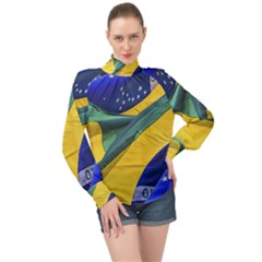 Brazil Flags Waving Background High Neck Long Sleeve Chiffon Top by dflcprintsclothing