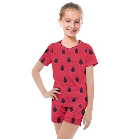 Seamless Watermelon Surface Texture Kids  Mesh Tee And Shorts Set by Vaneshart