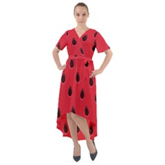 Seamless Watermelon Surface Texture Front Wrap High Low Dress