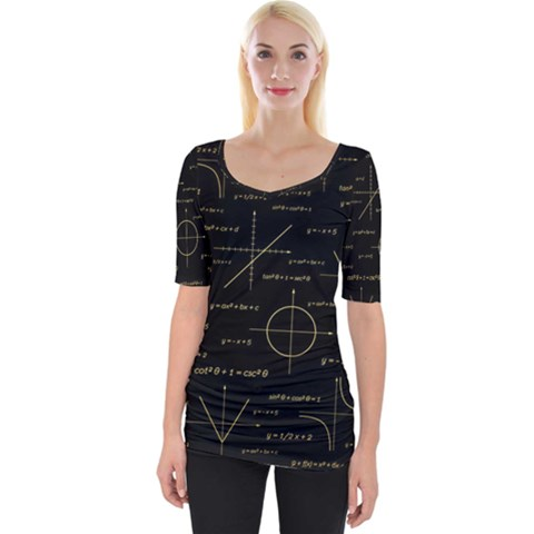 Abstract Math Pattern Wide Neckline Tee by Vaneshart