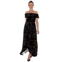Abstract Math Pattern Off Shoulder Open Front Chiffon Dress by Vaneshart