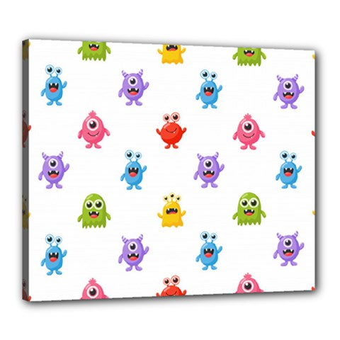 Seamless Pattern Cute Funny Monster Cartoon Isolated White Background Canvas 24  X 20  (stretched)