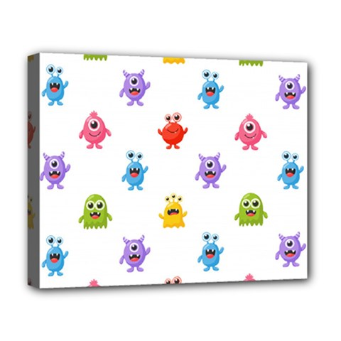 Seamless Pattern Cute Funny Monster Cartoon Isolated White Background Deluxe Canvas 20  X 16  (stretched)