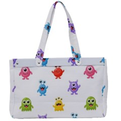 Seamless Pattern Cute Funny Monster Cartoon Isolated White Background Canvas Work Bag