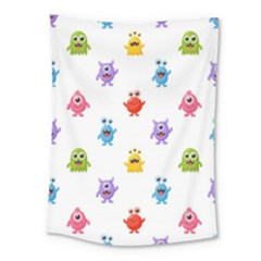 Seamless Pattern Cute Funny Monster Cartoon Isolated White Background Medium Tapestry
