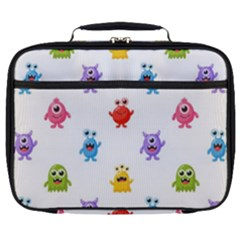 Seamless Pattern Cute Funny Monster Cartoon Isolated White Background Full Print Lunch Bag