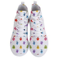 Seamless Pattern Cute Funny Monster Cartoon Isolated White Background Men s Lightweight High Top Sneakers