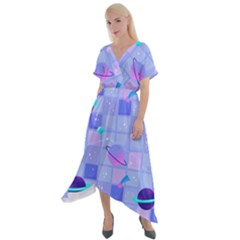 Seamless Pattern Pastel Galaxy Future Cross Front Sharkbite Hem Maxi Dress