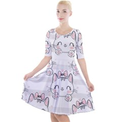 Cat With Bow Pattern Quarter Sleeve A-line Dress