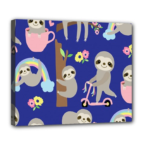 Hand Drawn Cute Sloth Pattern Background Deluxe Canvas 24  X 20  (stretched)