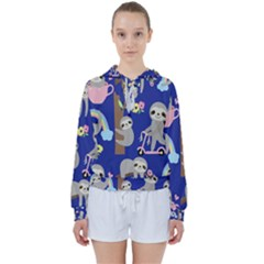 Hand Drawn Cute Sloth Pattern Background Women s Tie Up Sweat