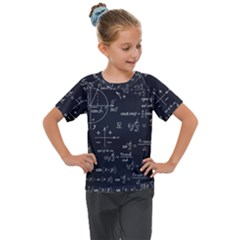 Mathematical Seamless Pattern With Geometric Shapes Formulas Kids  Mesh Piece Tee