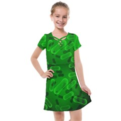 Green Rod Shaped Bacteria Kids  Cross Web Dress by Vaneshart