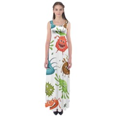 Dangerous Streptococcus Lactobacillus Staphylococcus Others Microbes Cartoon Style Vector Seamless Empire Waist Maxi Dress