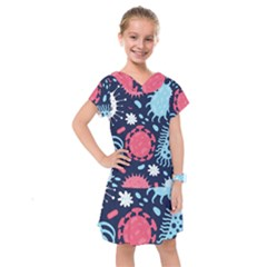 Seamless Pattern Microbes Virus Vector Illustration Kids  Drop Waist Dress