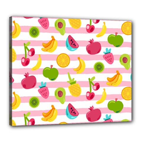Tropical Fruits Berries Seamless Pattern Canvas 24  X 20  (stretched)