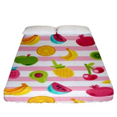 Tropical Fruits Berries Seamless Pattern Fitted Sheet (king Size) by Vaneshart