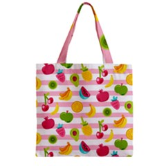 Tropical Fruits Berries Seamless Pattern Zipper Grocery Tote Bag by Vaneshart