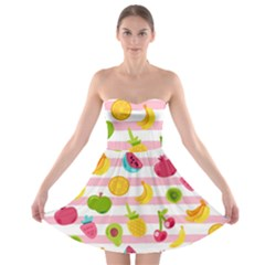 Tropical Fruits Berries Seamless Pattern Strapless Bra Top Dress