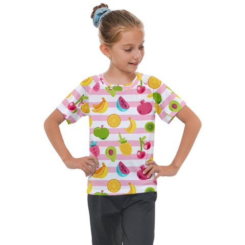 Tropical Fruits Berries Seamless Pattern Kids  Mesh Piece Tee by Vaneshart