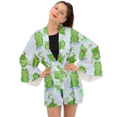 Cute Green Frogs Seamless Pattern Long Sleeve Kimono