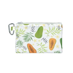 Seamless Tropical Pattern With Papaya Canvas Cosmetic Bag (small)