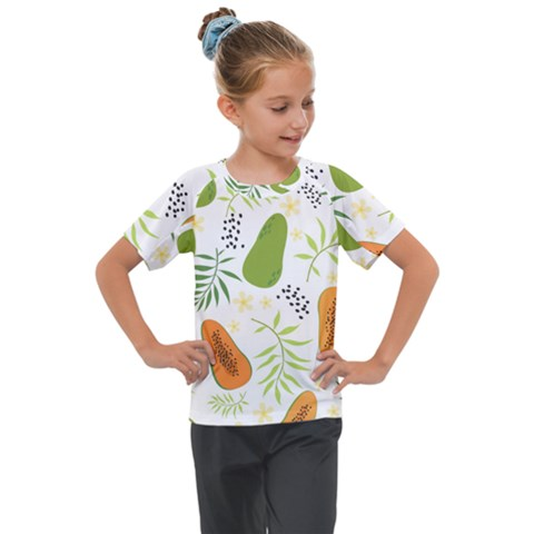 Seamless Tropical Pattern With Papaya Kids  Mesh Piece Tee by Vaneshart