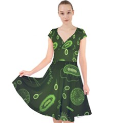 Bacteria Virus Seamless Pattern Inversion Cap Sleeve Front Wrap Midi Dress by Vaneshart