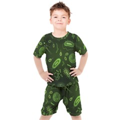 Bacteria Virus Seamless Pattern Inversion Kids  Tee And Shorts Set by Vaneshart