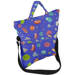 Virus Seamless Pattern Fold Over Handle Tote Bag