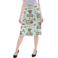 Seamless Pattern With Cute Sloths Relax Enjoy Yoga Midi Beach Skirt by Vaneshart