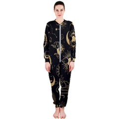 Asian Seamless Pattern With Clouds Moon Sun Stars Vector Collection Oriental Chinese Japanese Korean Onepiece Jumpsuit (ladies)