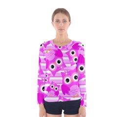 Pink Owl Pattern Background Women s Long Sleeve Tee