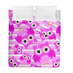 Pink Owl Pattern Background Duvet Cover Double Side (full/ Double Size)