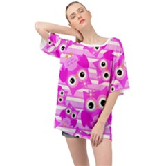 Pink Owl Pattern Background Oversized Chiffon Top
