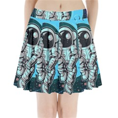 Astronaut Full Color Pleated Mini Skirt by Vaneshart