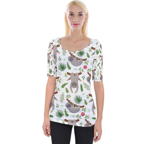 Seamless Pattern With Cute Sloths Wide Neckline Tee by Vaneshart