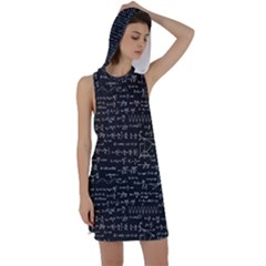 Math Equations Formulas Pattern Racer Back Hoodie Dress