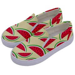 Watermelon Pattern Kids  Canvas Slip Ons by Vaneshart