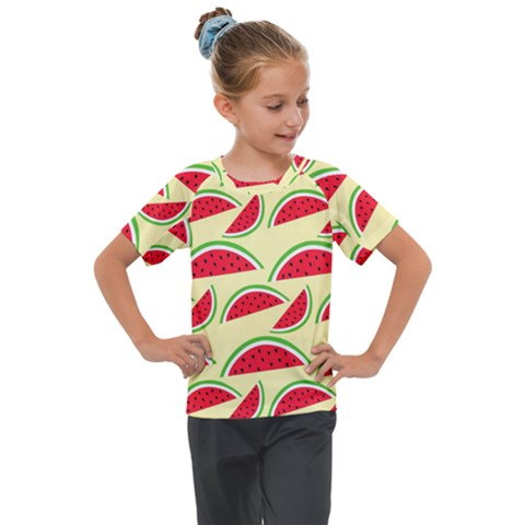 Watermelon Pattern Kids  Mesh Piece Tee by Vaneshart