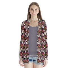 Swimmer 20s Brown Drape Collar Cardigan