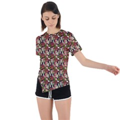 Swimmer 20s Brown Asymmetrical Short Sleeve Sports Tee