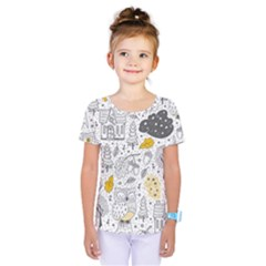 Doodle Seamless Pattern With Autumn Elements Kids  One Piece Tee