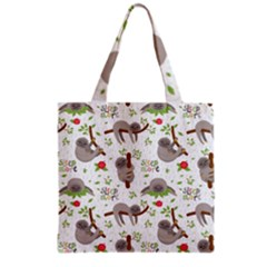 Seamless Pattern With Cute Sloths Sleep More Grocery Tote Bag