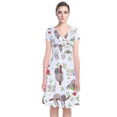 Seamless Pattern With Cute Sloths Sleep More Short Sleeve Front Wrap Dress