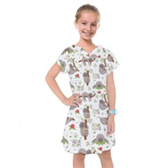 Seamless Pattern With Cute Sloths Sleep More Kids  Drop Waist Dress