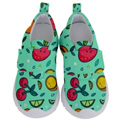 Various Fruits With Faces Seamless Pattern Kids  Velcro No Lace Shoes