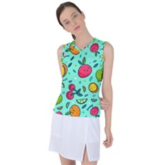Various Fruits With Faces Seamless Pattern Women s Sleeveless Sports Top by Vaneshart